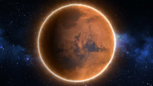 Beautiful View of Planet Mars from Space Timelapse and Stars - 4k Zökkenőmentes hurok mozgás háttér Animáció