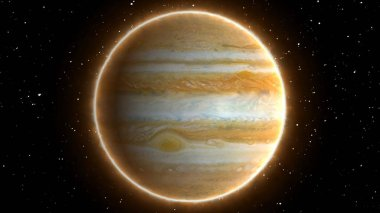 Beautiful View of Planet Jupiter from Space Timelapse and Stars - Abstract Background Texture