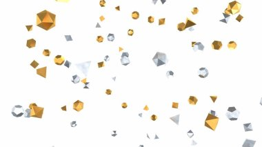 Silver and Gold Decoration Christmas Ornaments Falling in Slow Motion - Abstract Background Texture