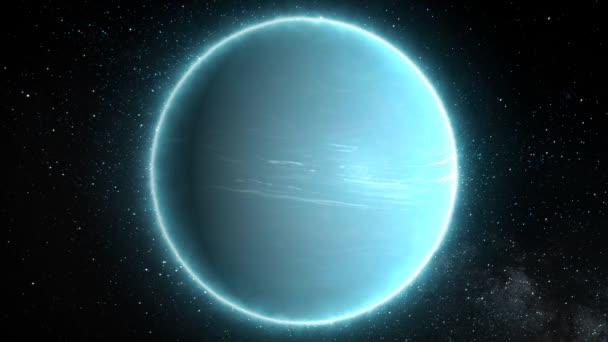 Beautiful View of Planet Uranus from Space Timelapse and Stars - 4k Zökkenőmentes hurok mozgás háttér Animáció