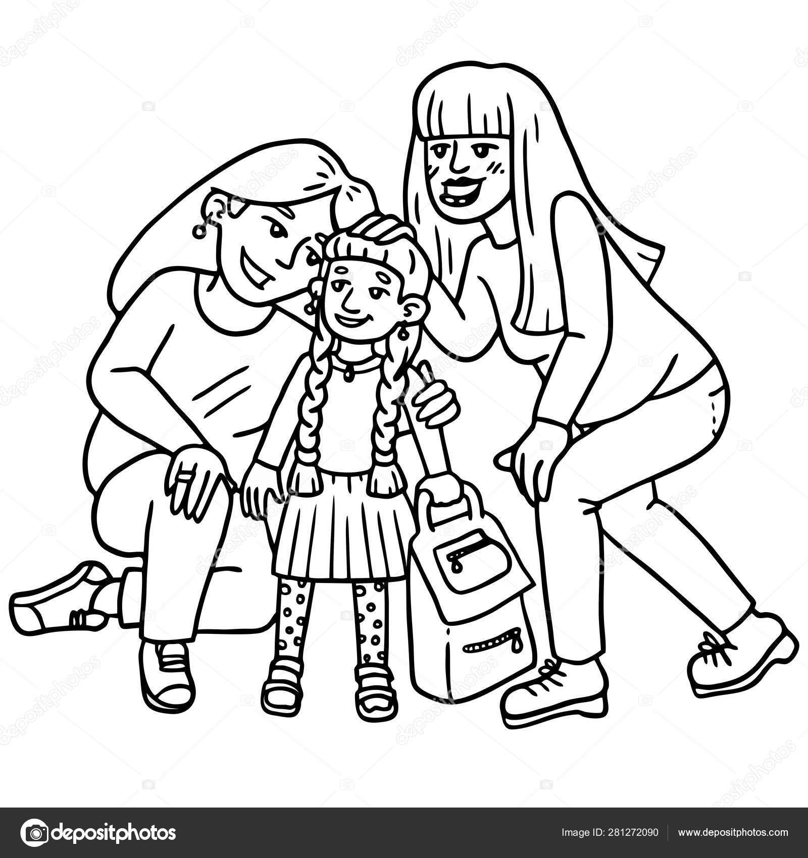 Famille Homosexuelle Heureux Envoie Fille école Dessin Noir