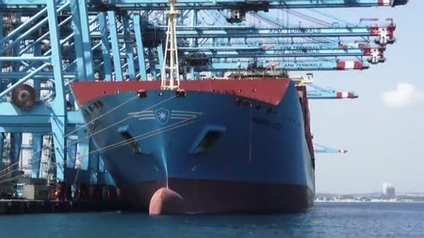 Nagy konténer Maersk Lotta berakodás és letöltő konténerek a port Algeciras, Spanyolország déli részén.