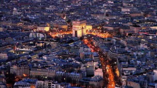 PARIS  FRANCE: DECEMBER 28, 2017. Aerial view of Arc de Triomphe and city center of Paris from the top of Eiffel Tower in France.
