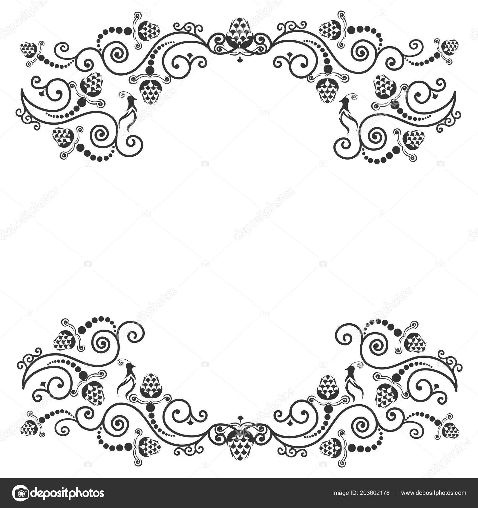 Vintage Invitation Template Cards Lace Ornaments Birds Vector