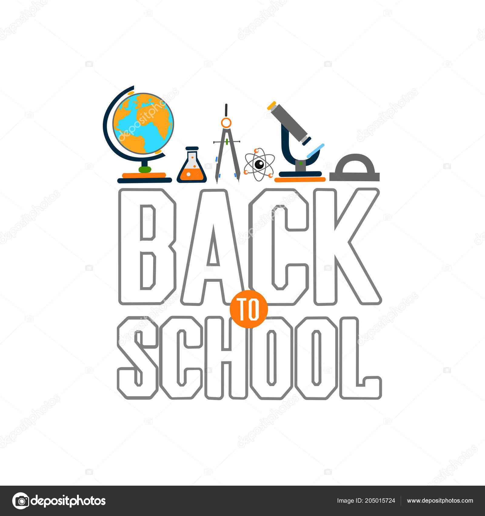 Back school color background school subjects vector invitation back school color background school subjects vector invitation template card vetores de stock stopboris Images