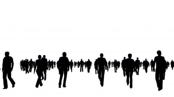 Tömeg sziluettek ember mozog a fehér