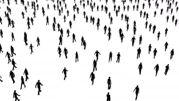 The crowd of people move in different directions