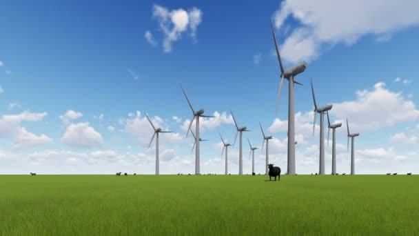 Větrné elektrárny na zelené louce a ovce