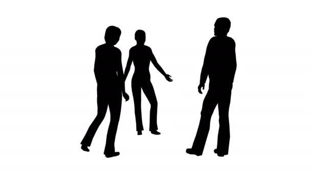 Siluety tří lidí stát a mluvit na bílé