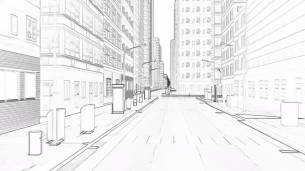 Drawing a city with tall buildings