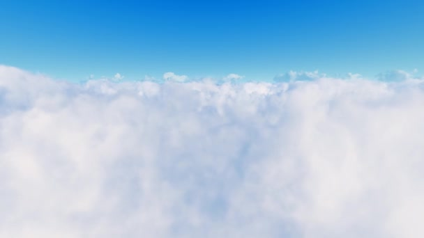Flight over clouds and blue sky