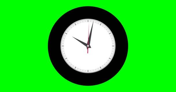 Nástěnné hodiny na zeleném pozadí