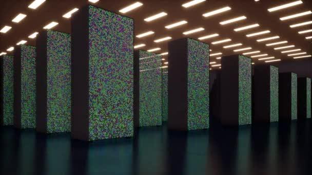 IT konzeptionelle Darstellung der Digitalisierung von Informationen fließen durch Rack-Servern im Rechenzentrum