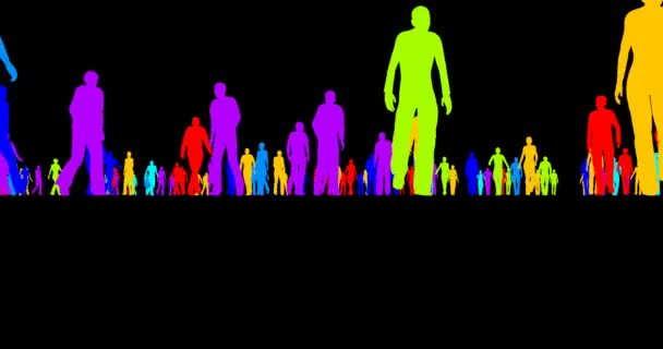 A tömeg, az emberek a fekete háttér színes sziluettek
