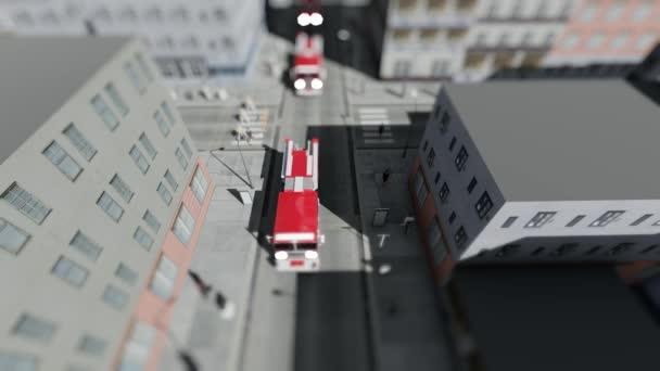 Konvoj hasičské vozy a policisty ve městě spěchat na výzvu