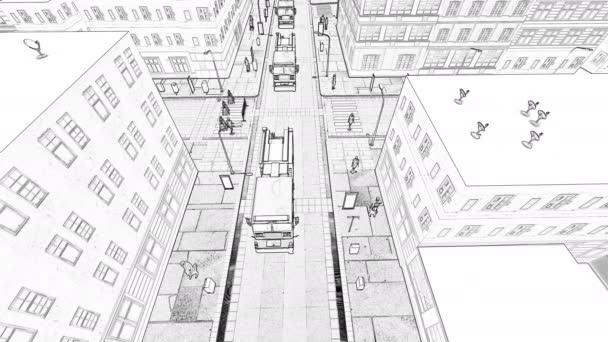 Zeichnung eines kleinstädtischen Konzepts eines Gebäudes