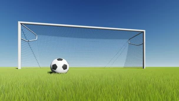 Futball-labda és a kapu, a zöld fű