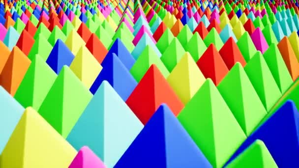 Modern colored pyramids, great design for any purposes. Technology pattern. Green abstract background. Abstract triangle. Red background. Blue color. 4k