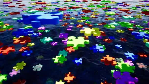 Puzzle piece, great design for any purposes. Puzzles are floating above the water. Concept business meeting