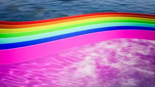 Moderní abstraktní design šablony s křivkou barevné barvy na pozadí moře pro web design. Minimální geometrické animace. Abstraktní pozadí textury