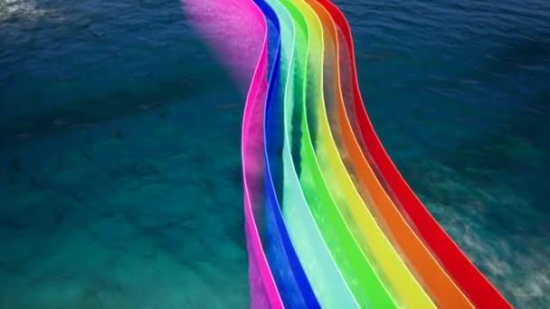 Modern absztrakt design sablon színes színes ív a tenger háttér a web design. Minimális geometriai animáció. Absztrakt háttér textúra.