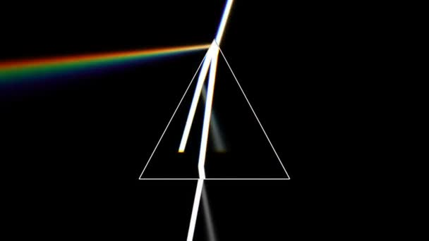 Prism separating a ray of light into the seven colors of the spectrum. Light source rotates, giving beautiful rainbow effects.