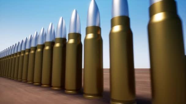 eine Reihe von Kugeln aus Waffen