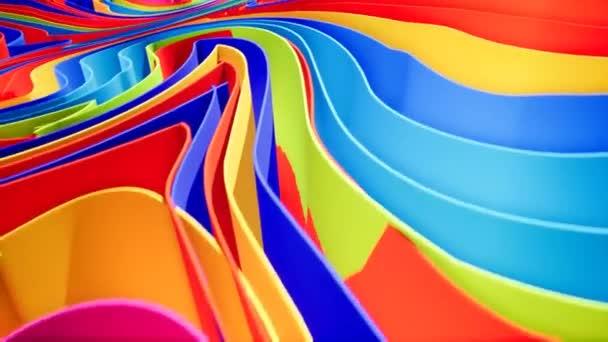 Animazione sfumatura onda variopinta... Priorità bassa di movimento futuro motivi geometrici. rendering 3D