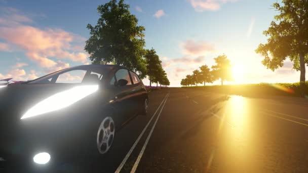 Autó, sötét naplemente futurisztikus hálózattal és technológiával.