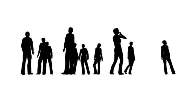 Silhouettes of people are standing on a white background