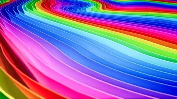 3D animace řádků a řádků barevných pruhů v duhové v kruhové tvorbě vlnící se.