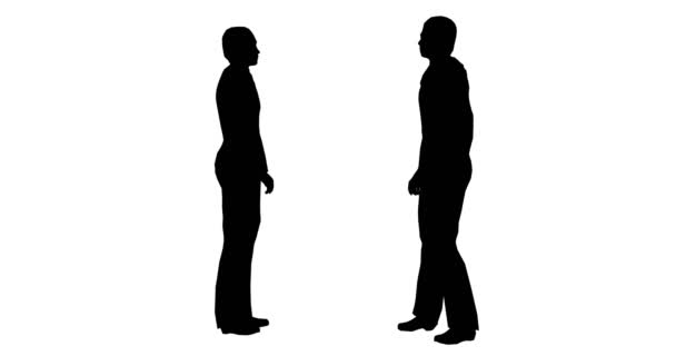 Siluety dvou mužů stojí na bílém pozadí