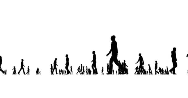 A crowd of people silhouettes are walking on a white background