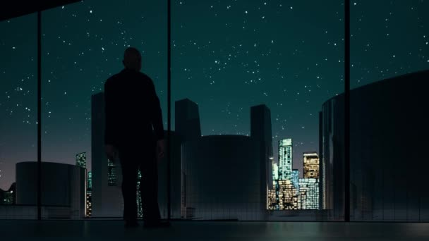 Man looking in window at night footage