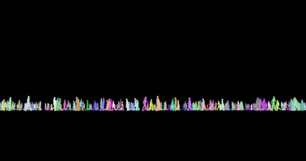 Tiny people multicolor silhouettes walking 3d footage