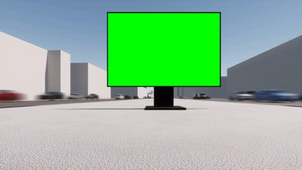 City Street billboard zelená obrazovka. Banner pro marketingový design. Prázdná maketa.