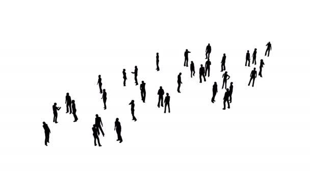 Silhouetten von Menschenmassen auf Weiß