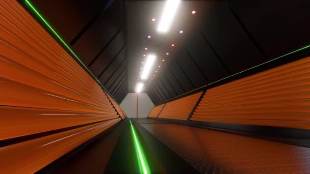 Security Tech folyosó 3D futurisztikus jövő tech. nyitott ajtó