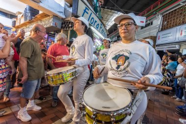 Belo Horizonte/Minas Gerais - People and Musicians with drums on Central Food Market during festival celebrating 90 years of the Traditional Market