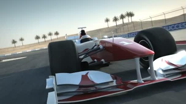 F1 závodní auto na pouštní okruh