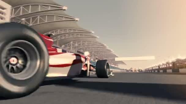 Formule jedna, závodní auto. Velmi rychlá jízda. animace