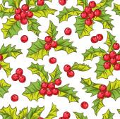 Fotografie Nahtloses Vektormuster mit Stechpalmen, weihnachtlichem Hintergrund.