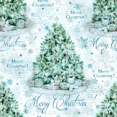 Christmas tree with decoration and gifts, hand paint watercolor illustration, vintage holiday seamless pattern for invitation, decoupage, scrapbooking. stock vector