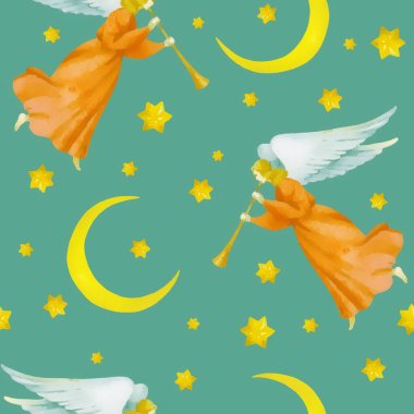 Hand paint watercolor trumpeting flying angels with stars and moon, seamless pattern stock vector
