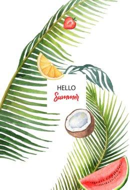 """Картина, постер, плакат, фотообои """"векторное знамя акварели тропические листья и фрукты на белом фоне ."""", артикул 198333776"""