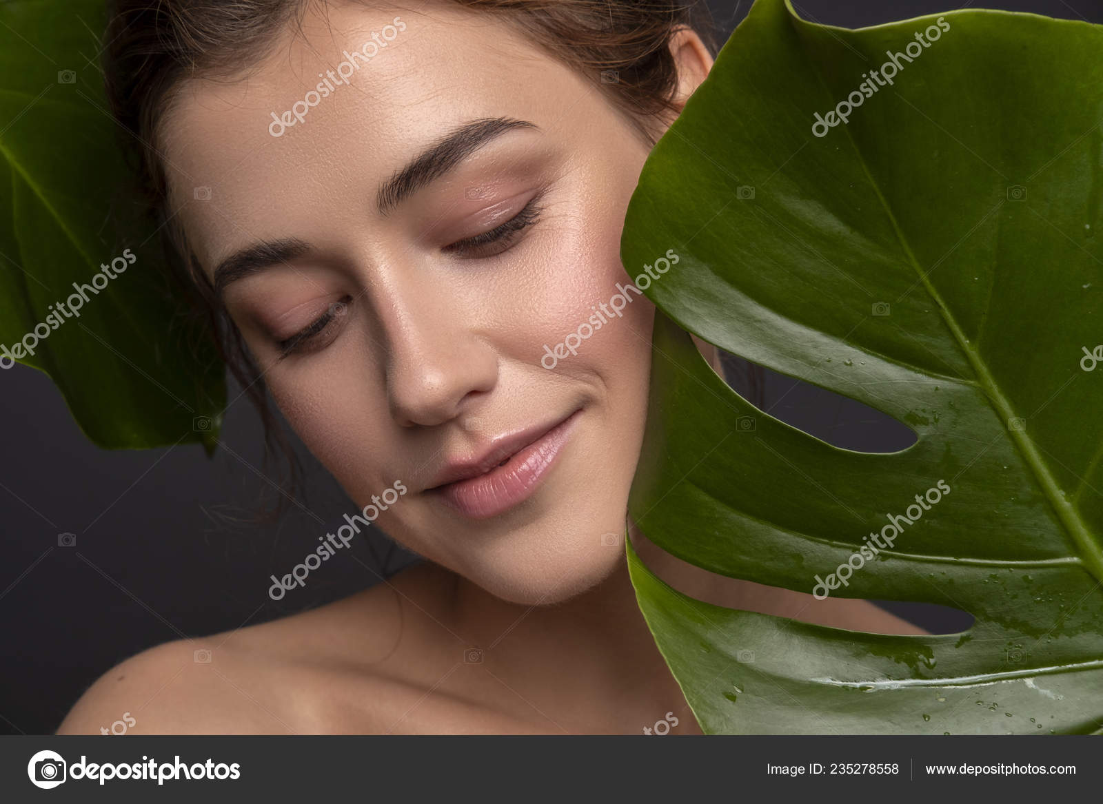 Cute Ordinary Young Woman Posing Monstera Tropical Leafs Fresh Clean Stock Photo C Annademy 235278558