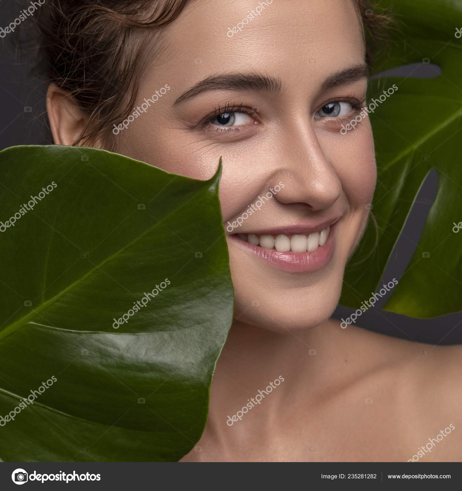 Cute Ordinary Young Woman Posing Monstera Tropical Leafs Fresh Clean Stock Photo C Annademy 235281282