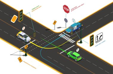 Road Intersection Isometric Concept