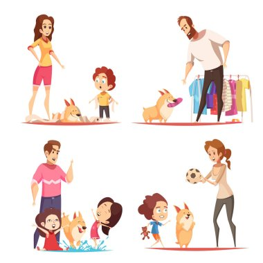 Family with favorite puppy during game, pranks with toilet paper and water, design concept isolated vector illustration stock vector