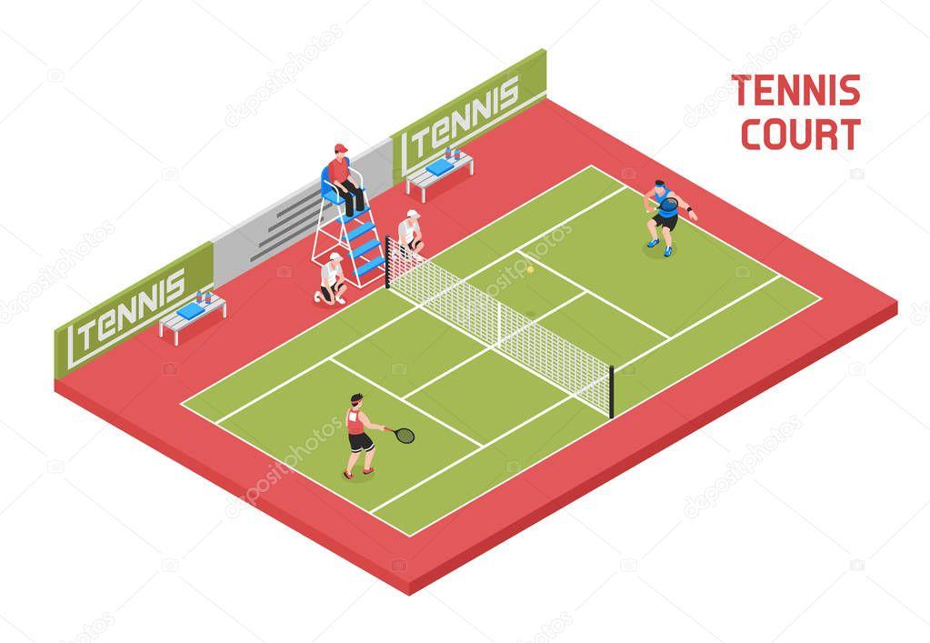 Sport Tennis Court Isometric